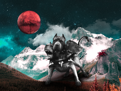 Cerberus horror photo photoshop myths dark design collage personage illustration