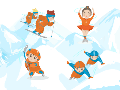 Зимние виды спорта sport winter personage illustration