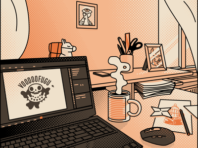 Workspace artwork graphicdesign art illustration voodoofugu