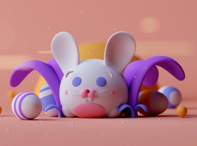 Happy Easter game fantasy cartoon illustration octane cinema 4d c4d 3d happy easter bunny easter