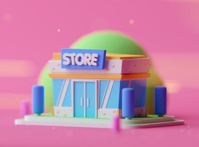 Store Level 1 isometric room game design fantasy illustration lowpoly octane cinema 4d 3d c4d isometric