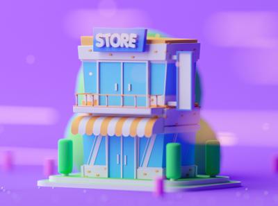 Store Level 2 fantasy isometric room cartoon game illustration lowpoly octane cinema 4d c4d isometric