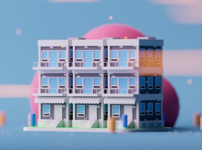 Buildings game design cartoon game illustration octane lowpoly cinema 4d 3d c4d isometric