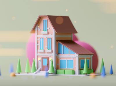 Residence game design game building game illustration lowpoly octane cinema 4d c4d 3d isometric
