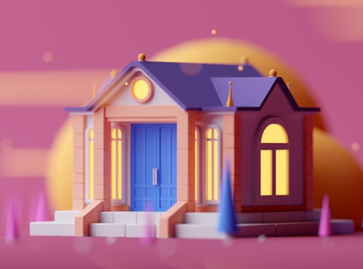 Old Building low poly fantasy game design isometric room illustration octane cinema 4d c4d 3d isometric