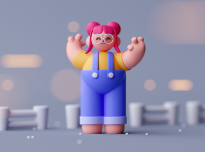 Farm Girl motiongraphics design game low poly cartoon illustration characterdesign characters octane cinema 4d isometric