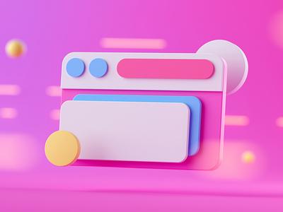 3D UI Element web social branding uidesign ux ui illustration octane cinema 4d