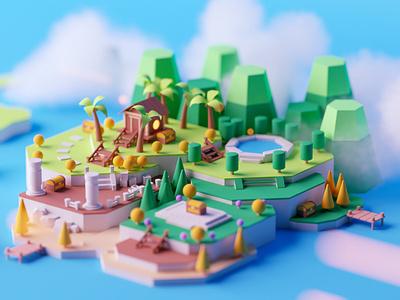 Island fantasy game cartoon game design illustration lowpoly octane c4d cinema 4d isometric