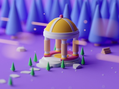 Bandstand fantasy illustration game design isometric room game low poly octane 3d cinema 4d isometric
