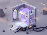Room on the Moon low poly game design design fantasy isometric room illustration lowpoly cinema 4d isometric