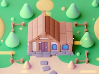 House game building game design low poly cartoon game illustration lowpoly octane cinema 4d isometric
