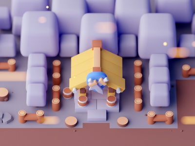 Weapon Shop cartoon game design isometric room low poly game illustration lowpoly octane cinema 4d isometric