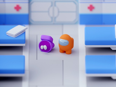 Med Bay Among Us low poly illustration game design isometric room among us game lowpoly octane cinema 4d isometric