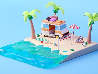 Beach cartoon isometric room beach game design illustration lowpoly octane c4d cinema 4d isometric