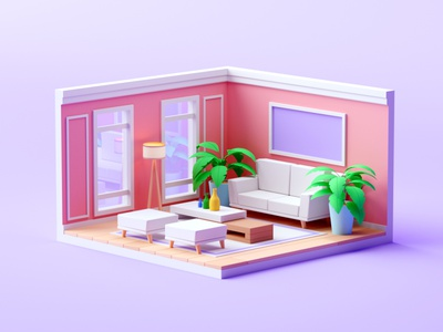 Living Room isometric room illustration cartoon lowpoly architecture cinema 4d isometric