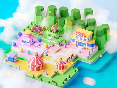 Island island fantasy isometric room game illustration lowpoly octane cinema 4d isometric