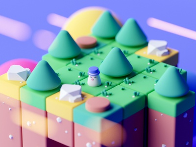 Game Blocks c4d octane game design isometric room low poly cartoon game illustration isometric cinema 4d