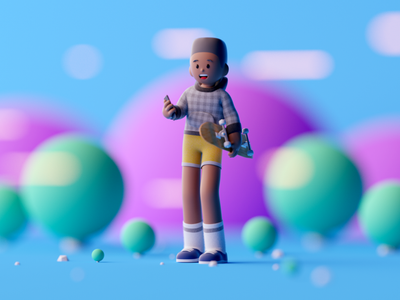 Skater boy game design design characterdesign cartoon character illustration lowpoly c4d octane cinema 4d
