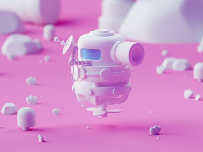 Robot 3d game design game illustration lowpoly cinema 4d octane isometric