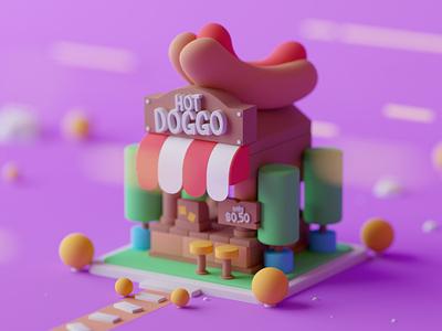 Hot Doggo design game cartoon illustration lowpoly octane cinema 4d isometric