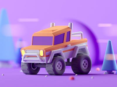 Pickup Truck illustration cinema 4d isometric c4d lowpoly 3d