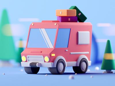 Travel Van isometric cinema4d lowpoly vehicles cars 3d