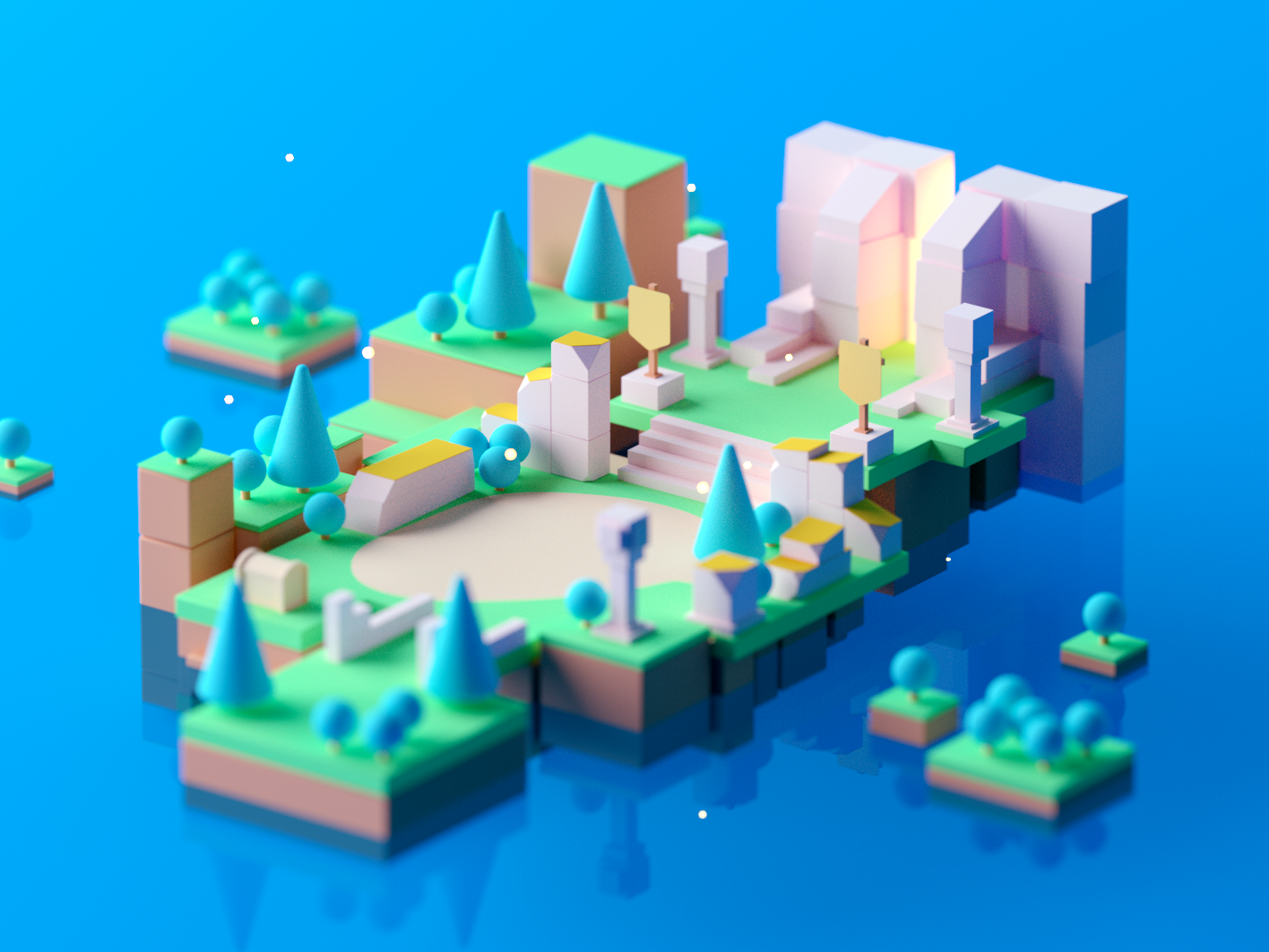 Game Environment #2 game design design game building fantasy illustration low poly isometric room game lowpoly octane cinema 4d c4d 3d isometric