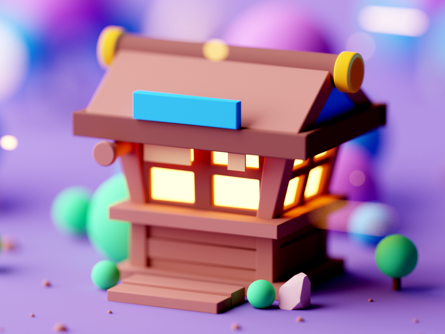 Shop game asset game design design cinema4d forest game building fantasy illustration cartoon low poly isometric room game lowpoly octane cinema 4d c4d 3d isometric