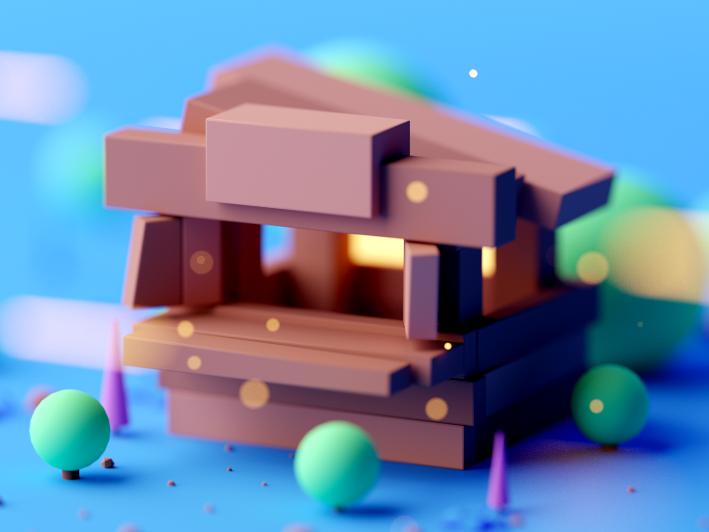 Wooden Tent game asset game design design cinema4d forest game building fantasy illustration cartoon low poly isometric room game lowpoly octane cinema 4d 3d c4d isometric