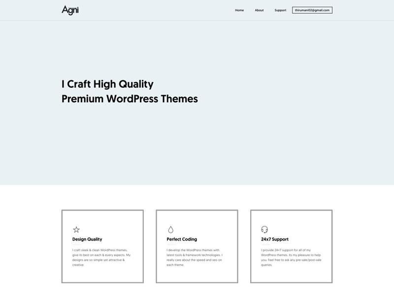 My New Homepage wordpress portfolio agni clean modern lite minimal