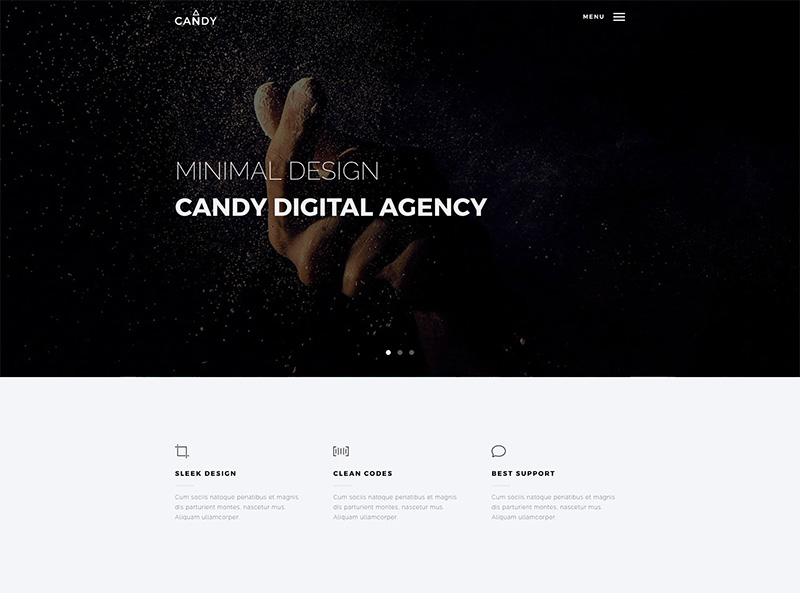 Candy WordPress Theme web design app landing wordpress portfolio onepage multipurpose clean agency