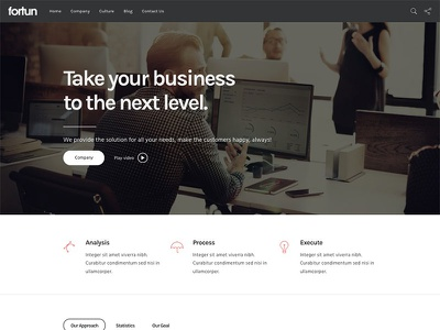 Business Layout for Fortun WordPress Theme website theme template startup site portfolio personal modern creative company business agency
