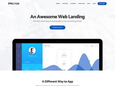 New WordPress theme Promo 2 | Milton website theme template startup site portfolio personal modern creative company business agency