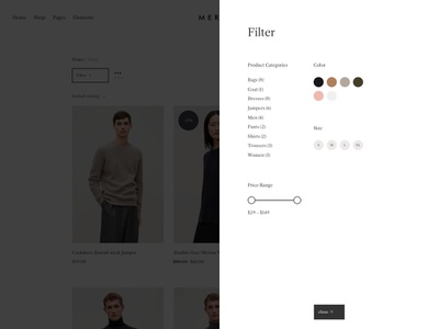 Merino - Upcoming eCommerce WordPress Theme filter product filter website wordpress themeforest web design shop modern ecommerce