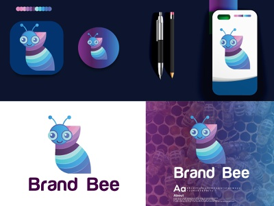 Premium Vector | Bee logo icon illustration | bee modern logo hira a logo designer logotype gradient logo colorful bee bee brand logo design logo bee logo bee modern logo logo designer logo folio 2021 logo trends 2021 eye catching modern logo minimal branding brand identity creative logo abstract logo