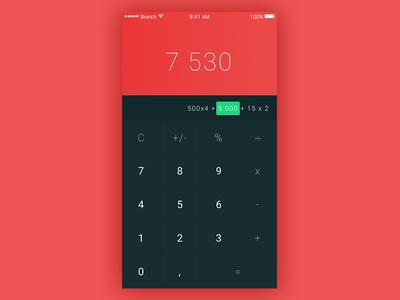 Dailyui  #04 - Calculator red flat calculator ui dailyui