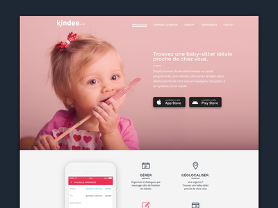 Kindee   Landingpage app responsive pink sitting baby babysitting landing web