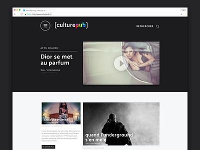 Culture pub - 1h draft white large web first mobile responsive short movie advertisement black landing video