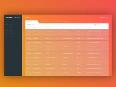 Alcopa crm desktop application app directory contact orange red gradient