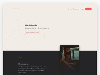 Sound designer pastel design minimal page landing ui ux sound designer