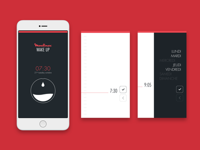 Moulinex - connected coffee machine minimal ux ui modern alarm clock futura red mobile application connected object