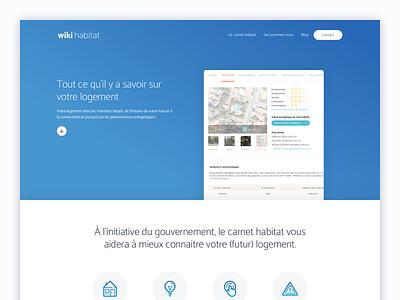 Wiki Habitat responsive blue landing web ux ui