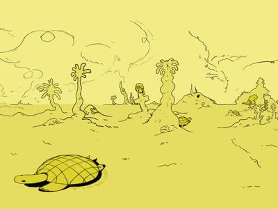 Turtlescape 360 360 panorama gamedesign worldbuilding visualart virtual vr editorial cartoon background atmosphere design illustration artwork