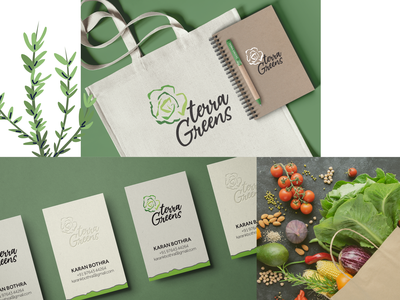Branding for Terra Greens delivery service fresh hydroponics exotic veggies stationary packaging identitydesign vegetables design logo branding