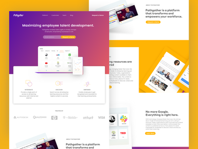 Pathgather Pitch scrolled design website icon illustration product design landing page contrast app ux ui