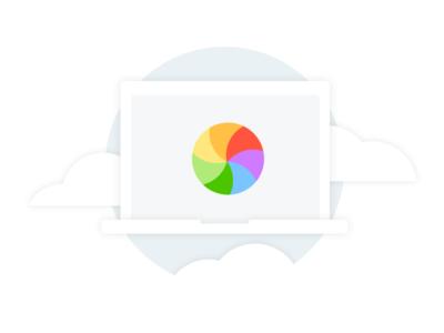 Kustomer 404 Illustration macbook spinning wheel of death color clean 404 visual ui flat design illustration