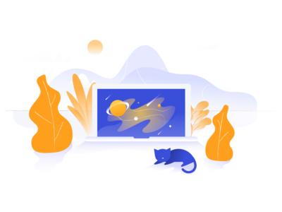 404 orange space ui web color contrast design branding 404 clean cats simple illustration