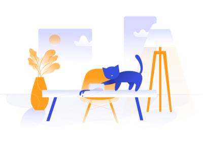 General Error illustration simple cats 404 clean branding design contrast color web ui