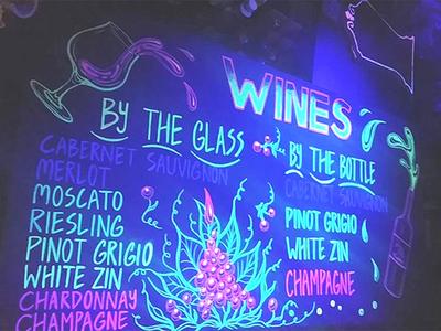 Wines menu sign