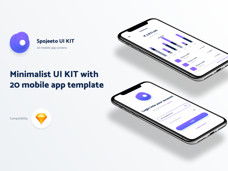 Minimalist UI KIT with 20 iPhone X templates for mobile app vector crm dashboard sketch ui template mobile app mobile interface app ui app